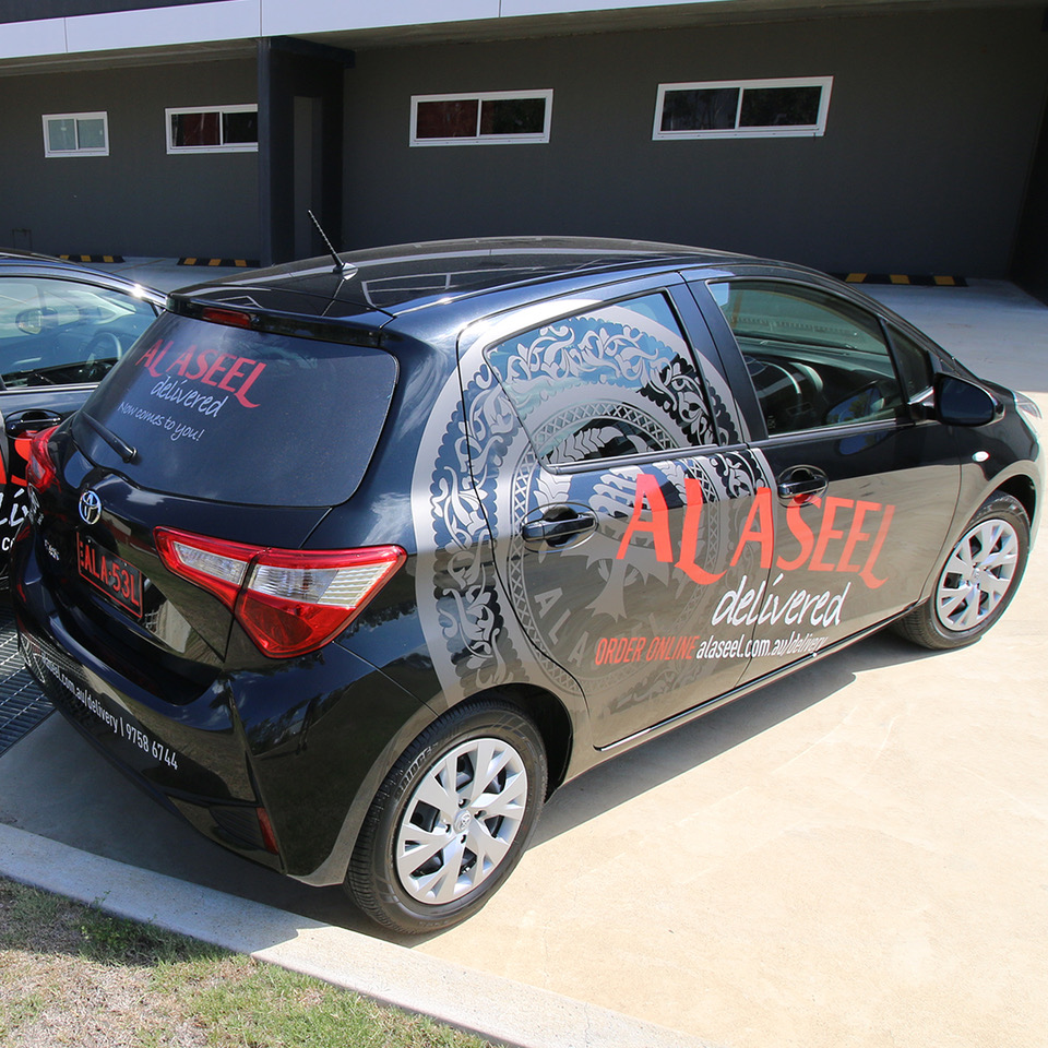 al_aseel, delivery, toyota, yaris , vehicle, signage